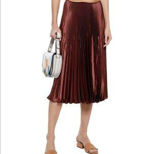 "Vince Satin Pleated Skirt ""Brick"" size 10"